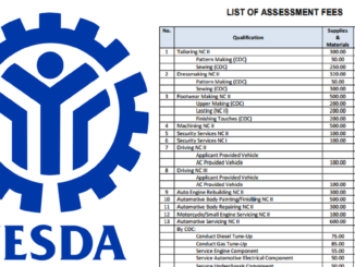 TESDA List of Assessment Fees of All Courses Offered